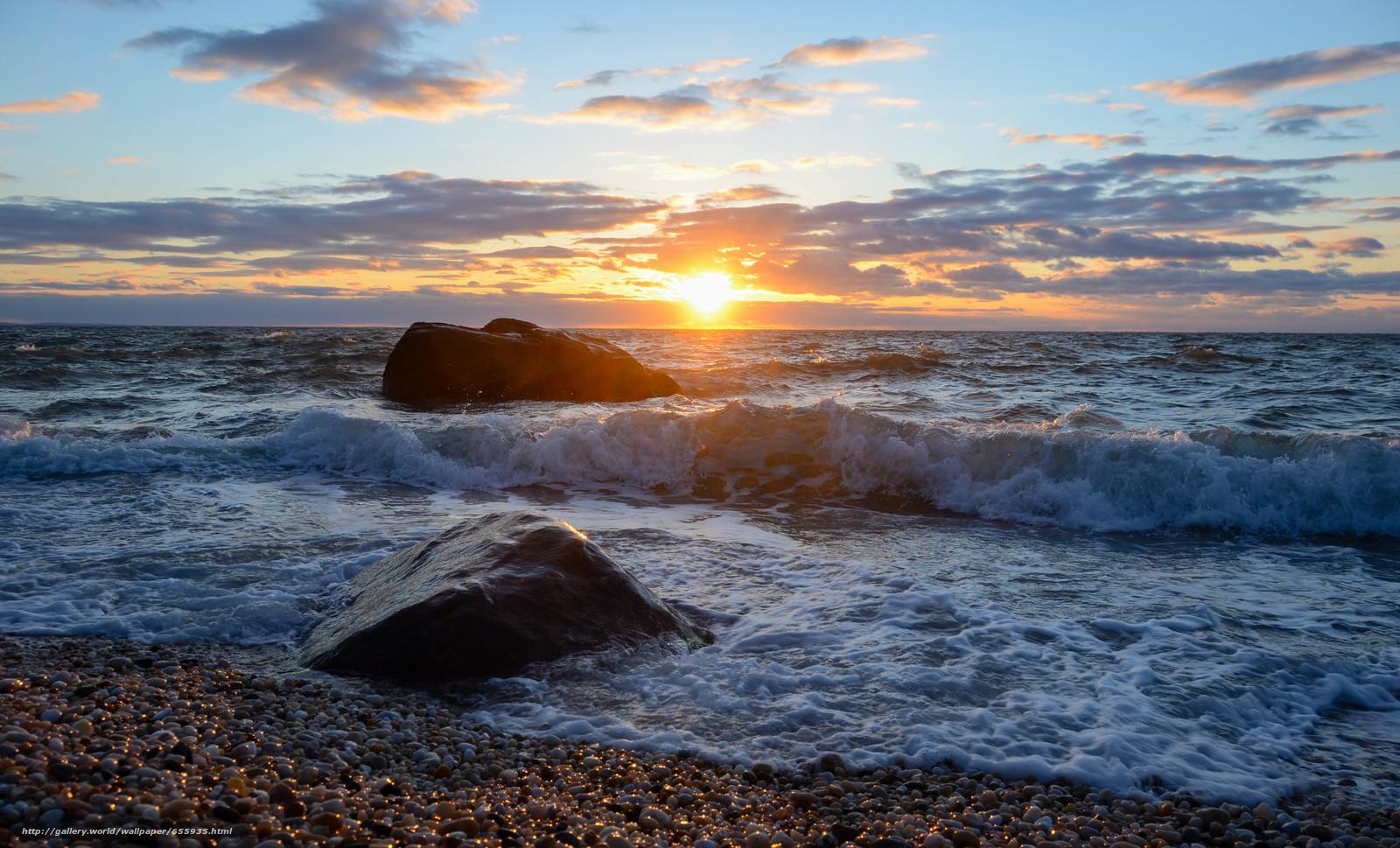 Download wallpaper sunset,  sea,  waves,  landscape free desktop wallpaper in the resolution 4928x2986 — picture №655935