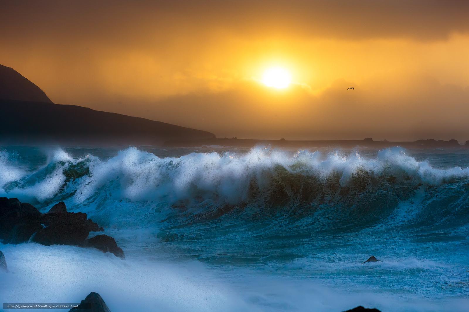 壁紙をダウンロード 日没,  海,  波浪,  風景 デスクトップの解像度のための無料壁紙 2084x1389 — 絵 №655941