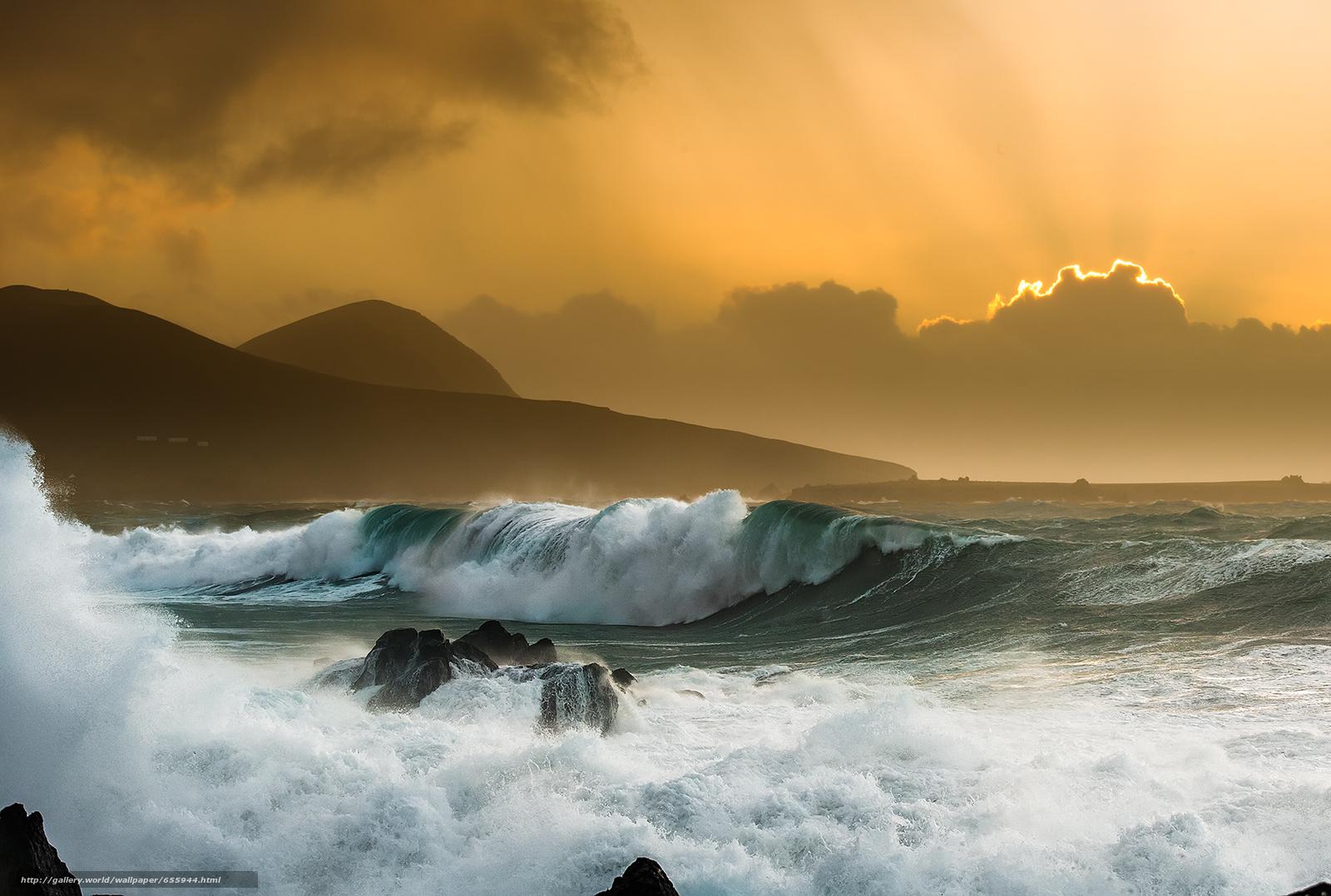 壁紙をダウンロード 日没,  海,  波浪,  風景 デスクトップの解像度のための無料壁紙 1685x1134 — 絵 №655944