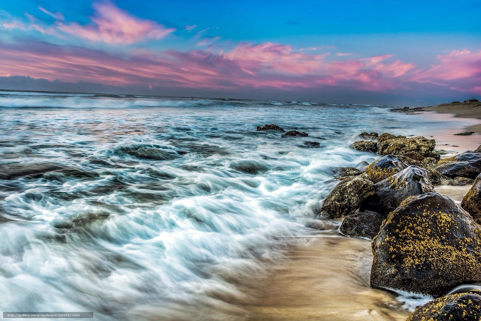 Download wallpaper sunset,  sea,  waves,  landscape free desktop wallpaper in the resolution 2304x1536 — picture №655957