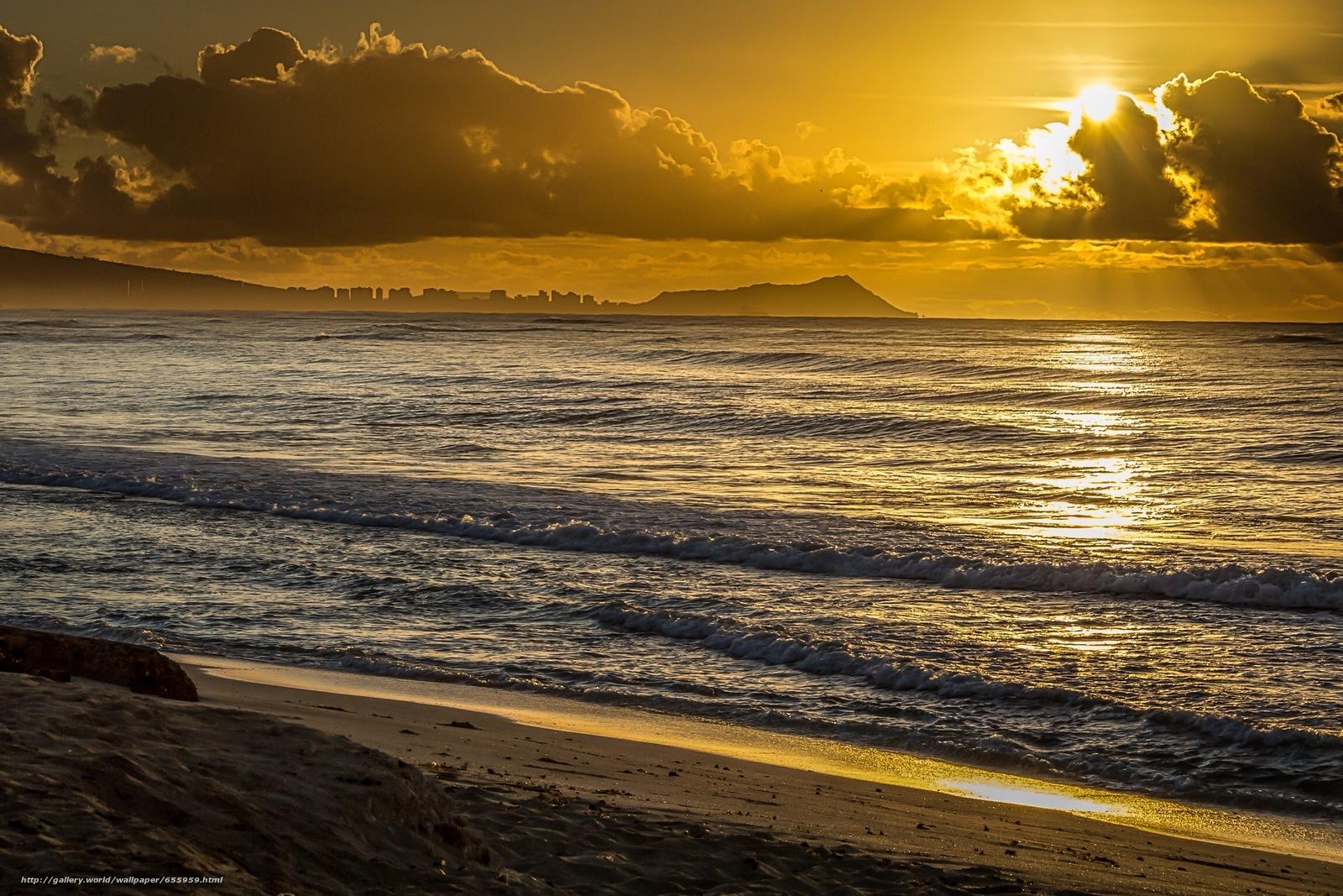 壁紙をダウンロード 日没,  海,  波浪,  風景 デスクトップの解像度のための無料壁紙 2304x1536 — 絵 №655959