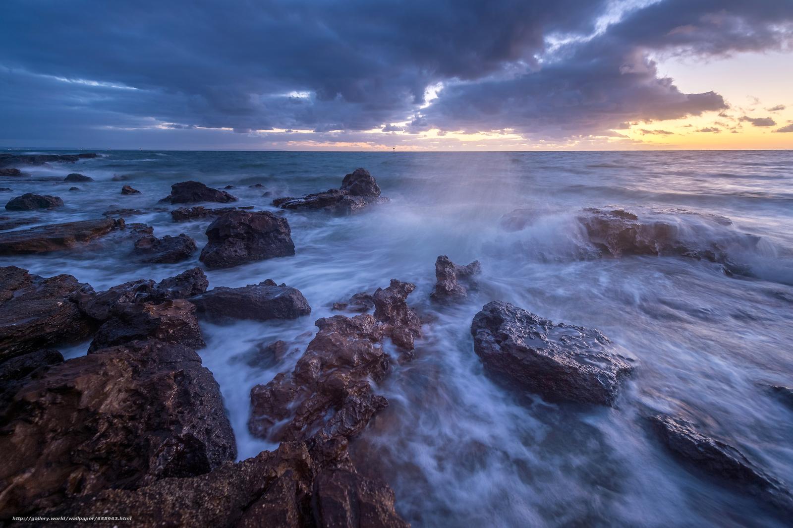 下载壁纸 日落,  海,  波浪,  景观 免费为您的桌面分辨率的壁纸 4928x3280 — 图片 №655963
