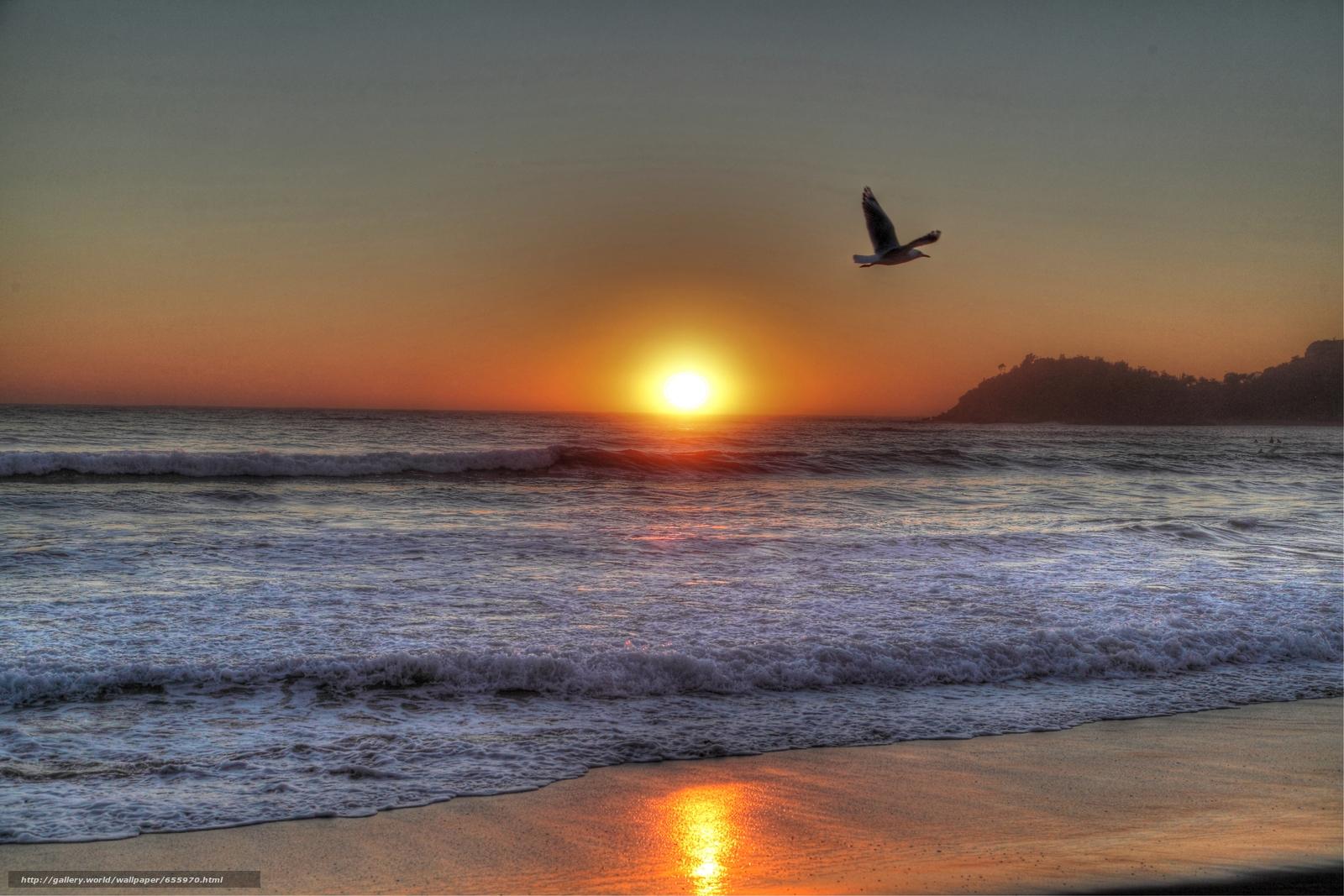 下载壁纸 日落,  海,  波浪,  景观 免费为您的桌面分辨率的壁纸 5250x3500 — 图片 №655970