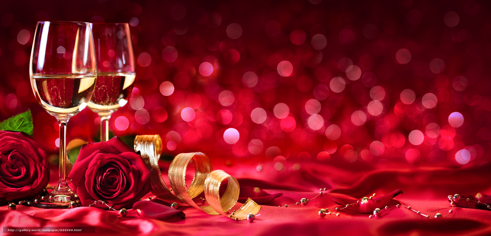 Download wallpaper Valentine,  Roses,  BUDS,  Champagne free desktop wallpaper in the resolution 11000x5279 — picture №655999