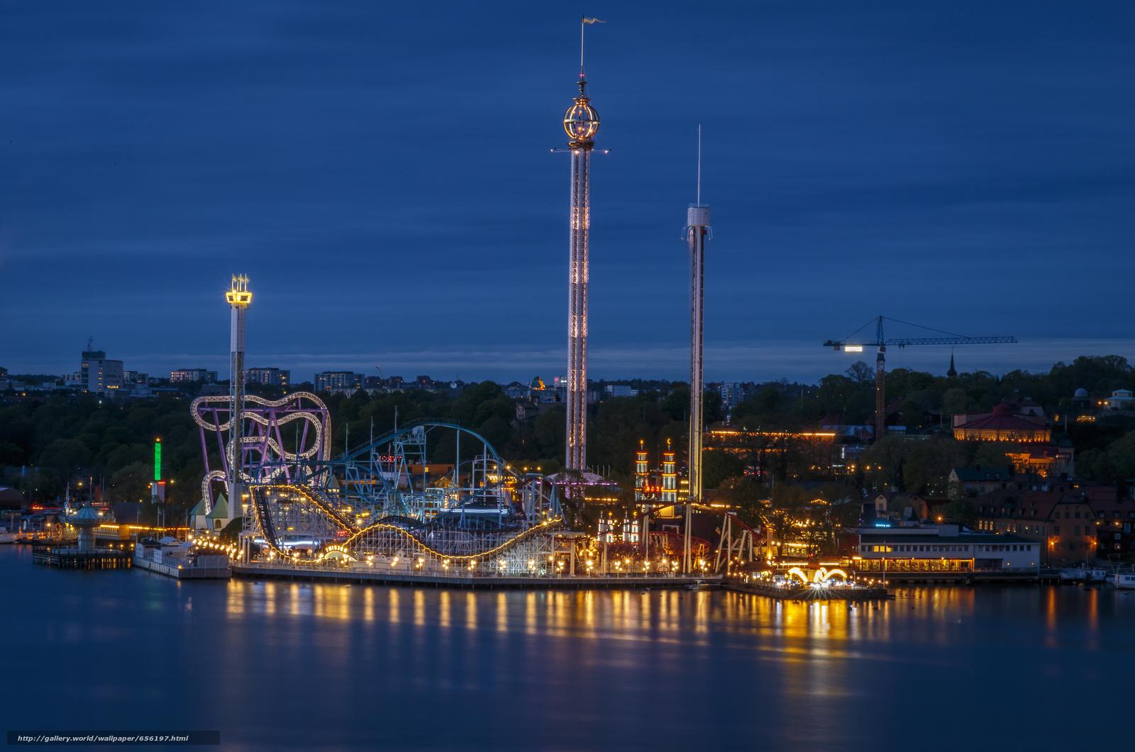 scaricare gli sfondi Stoccolma,  Svezia,  città,  notte Sfondi gratis per la risoluzione del desktop 5440x3608 — immagine №656197