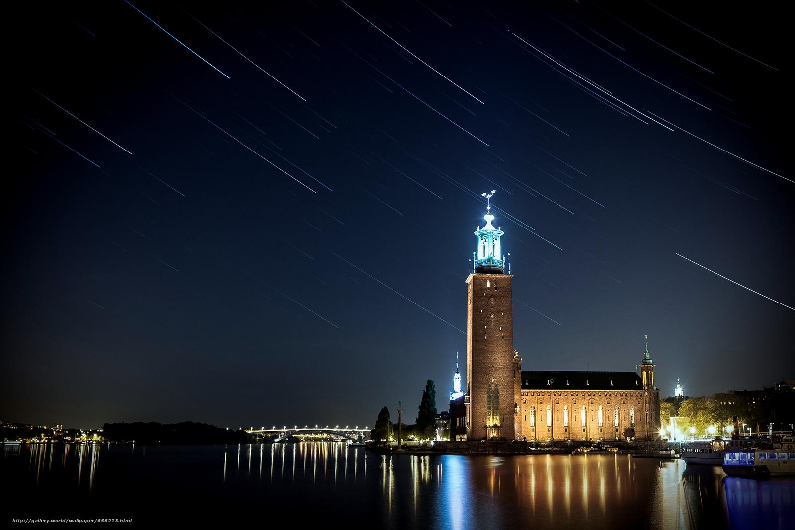 scaricare gli sfondi Stoccolma,  Svezia,  città,  notte Sfondi gratis per la risoluzione del desktop 1920x1280 — immagine №656213