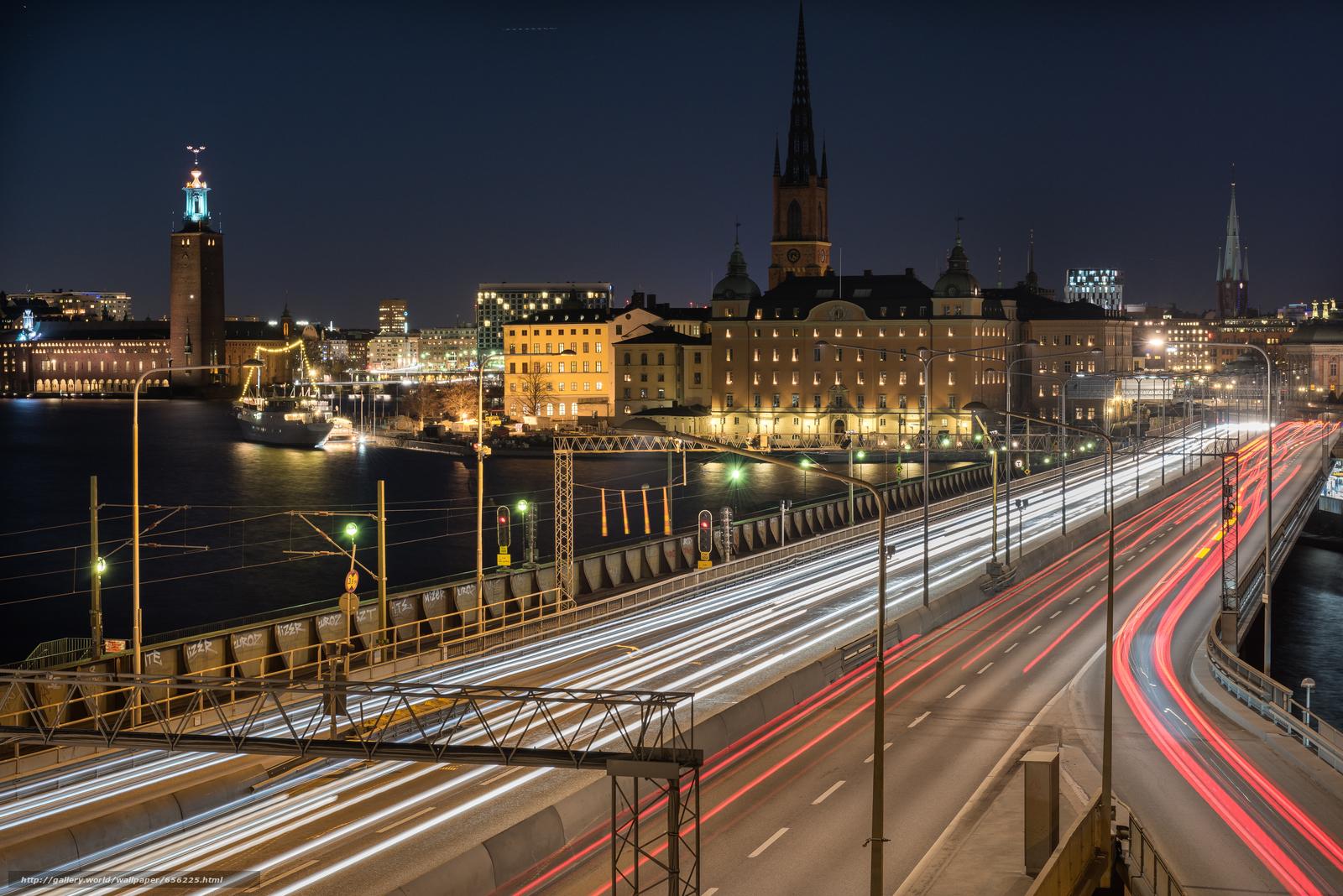 pobra tapety Sztokholm,  Szwecja,  miasto,  noc Darmowe tapety na pulpit rozdzielczoci 7360x4912 — zdjcie №656225