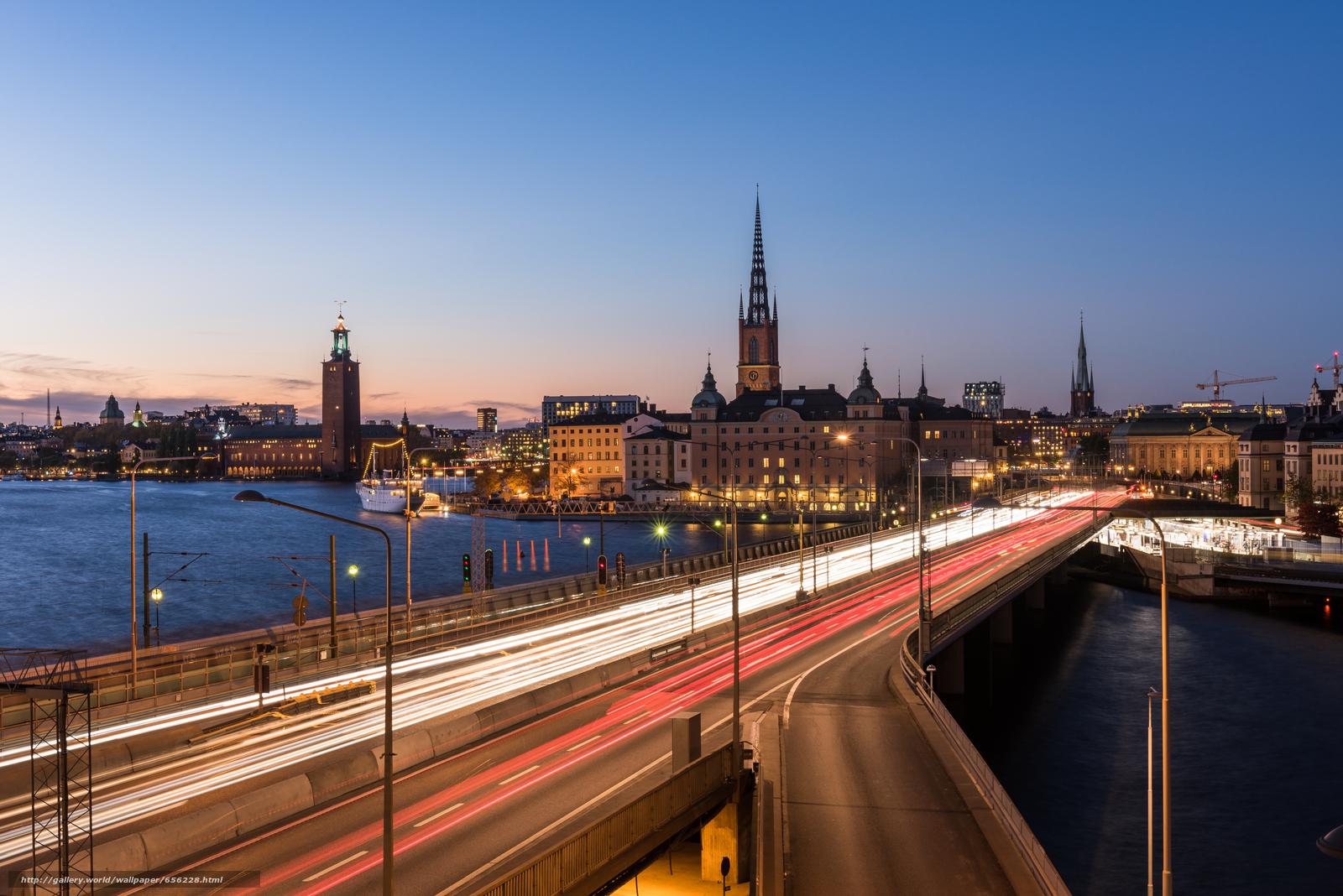 pobra tapety Sztokholm,  Szwecja,  miasto,  noc Darmowe tapety na pulpit rozdzielczoci 7360x4912 — zdjcie №656228