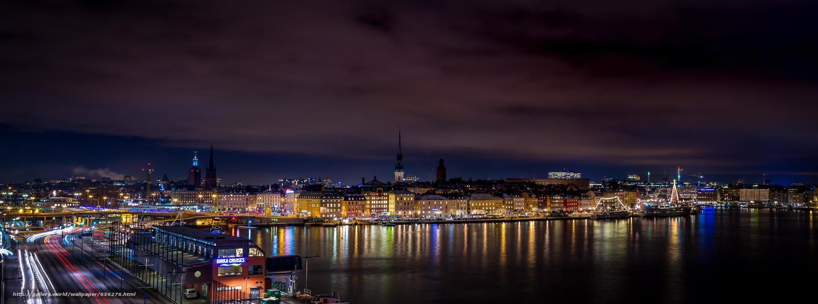 scaricare gli sfondi Stoccolma,  Svezia,  città,  panorama Sfondi gratis per la risoluzione del desktop 8064x3004 — immagine №656276