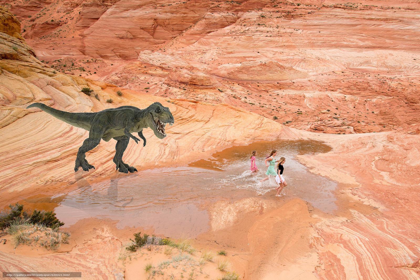 Baixar Wallpaper dinossauro,  Meninas,  perseguição Papis de parede grtis na resoluo 2048x1366 — quadro №656321
