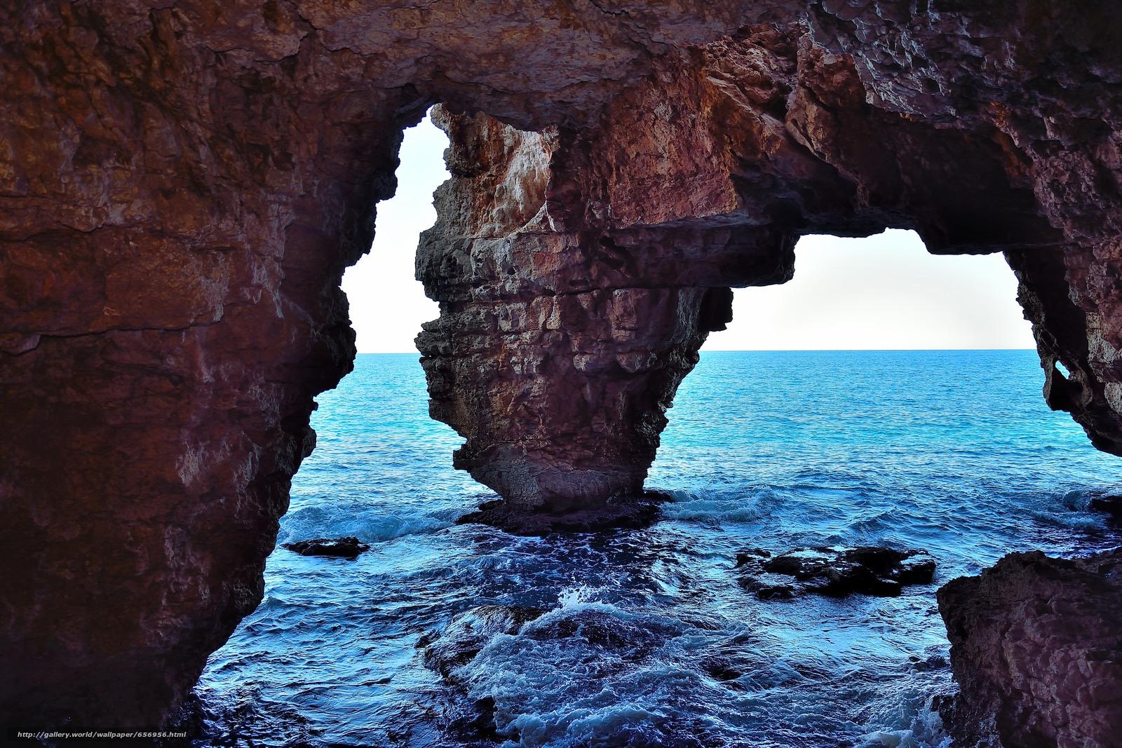 Download wallpaper Rocks,  sea,  arch,  landscape free desktop wallpaper in the resolution 5718x3812 — picture №656956