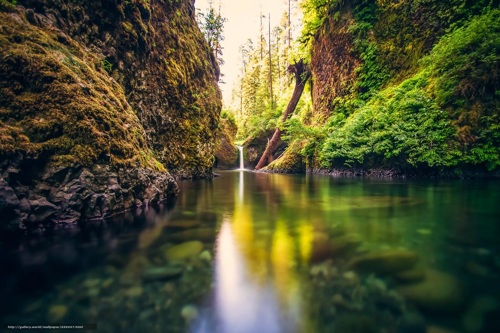scaricare gli sfondi Rocce,  fiume,  cascata,  paesaggio Sfondi gratis per la risoluzione del desktop 2048x1365 — immagine №656957