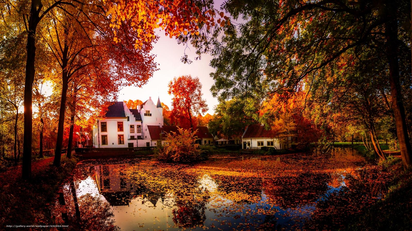 Baixar Wallpaper outono,  lagoa,  casa,  árvores Papis de parede grtis na resoluo 3641x2048 — quadro №656960