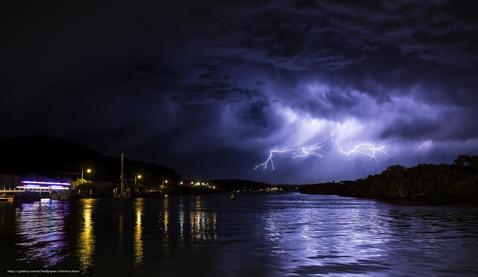 Скачать обои ночь,  река,  молния,  пейзаж бесплатно для рабочего стола в разрешении 2048x1189 — картинка №656963