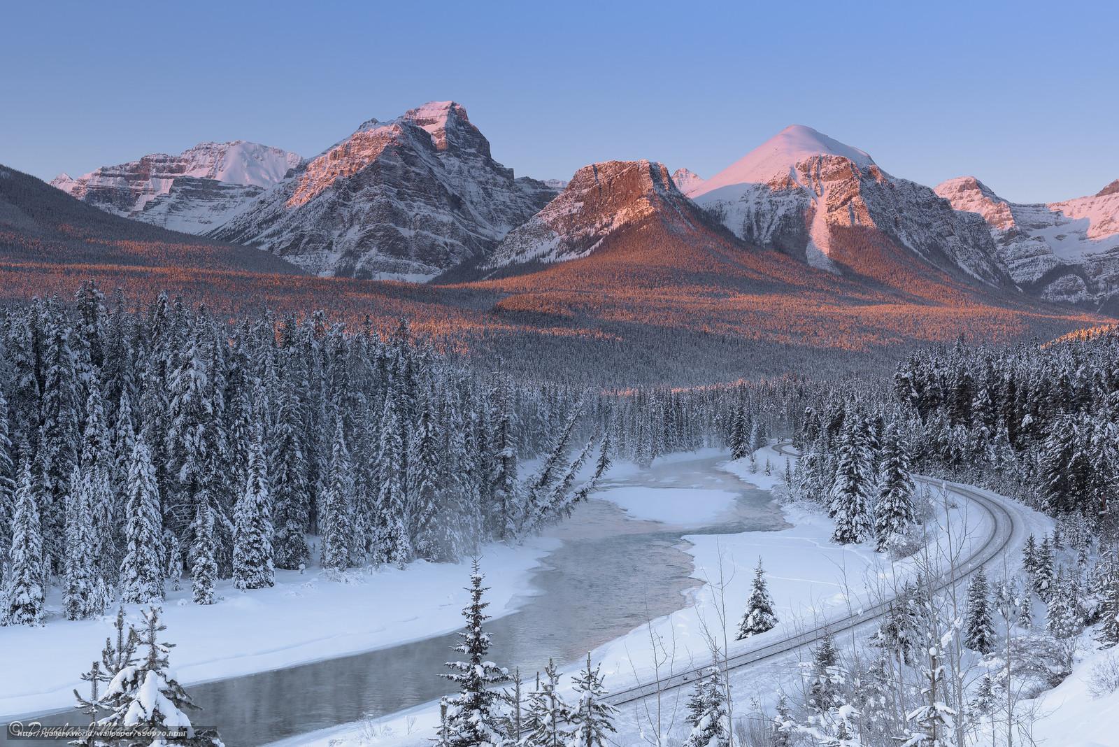 Скачать обои Bow River,  Canada,  горы,  река бесплатно для рабочего стола в разрешении 2048x1367 — картинка №656970