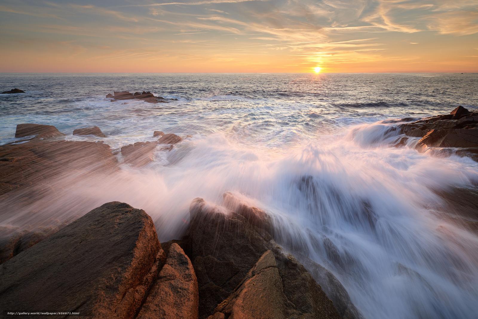 Download Hintergrund Sonnenuntergang,  Meer,  Steine,  Wellen Freie desktop Tapeten in der Auflosung 2048x1367 — bild №656971