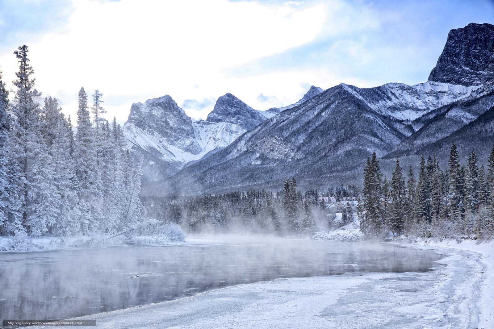 Tlcharger Fond d'ecran hiver,  rivière,  Montagnes,  arbres Fonds d'ecran gratuits pour votre rsolution du bureau 2048x1365 — image №656973