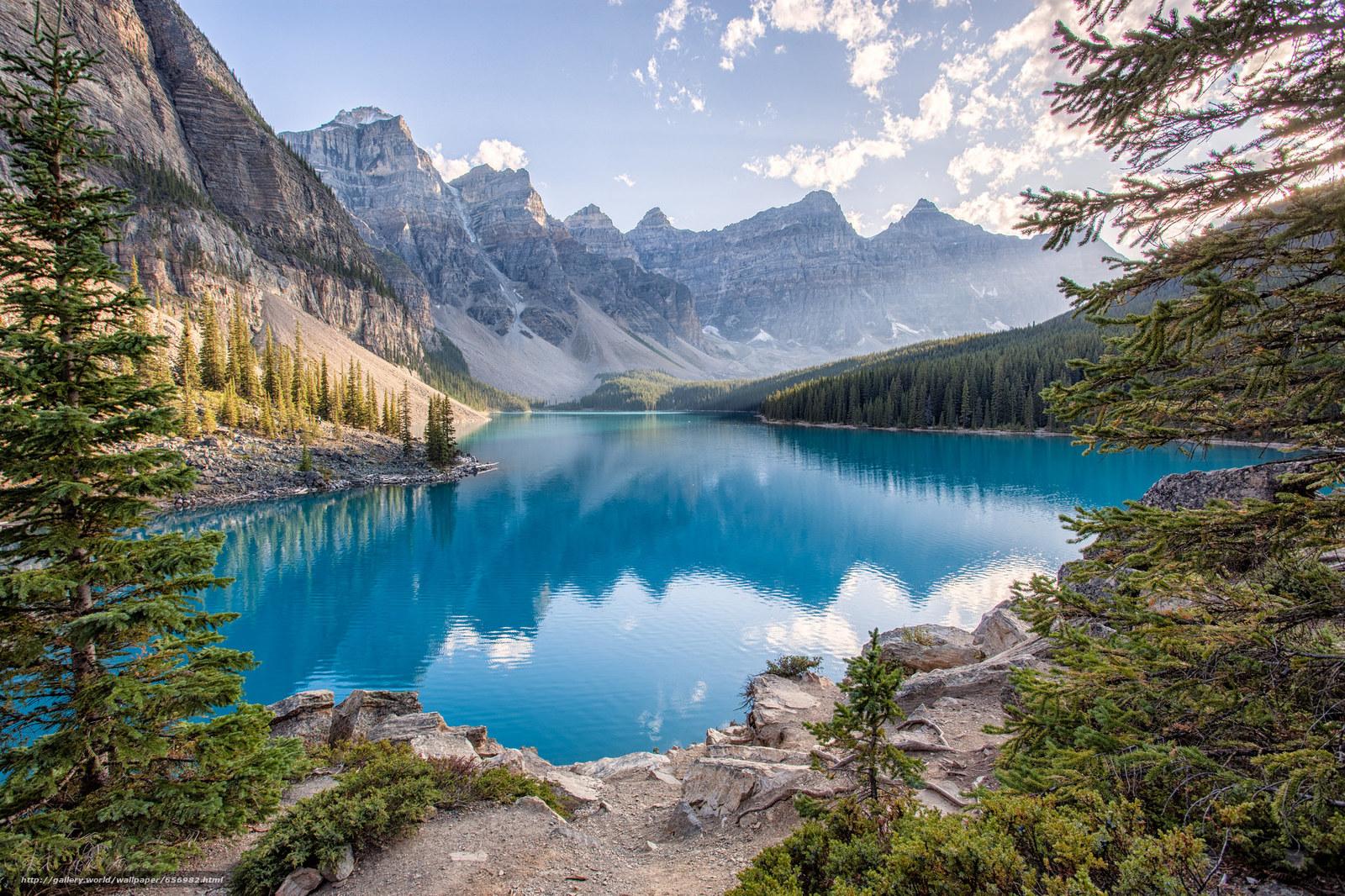 scaricare gli sfondi Lago Moraine,  Parco Nazionale di Banff,  Alberta,  Canada Sfondi gratis per la risoluzione del desktop 2048x1365 — immagine №656982