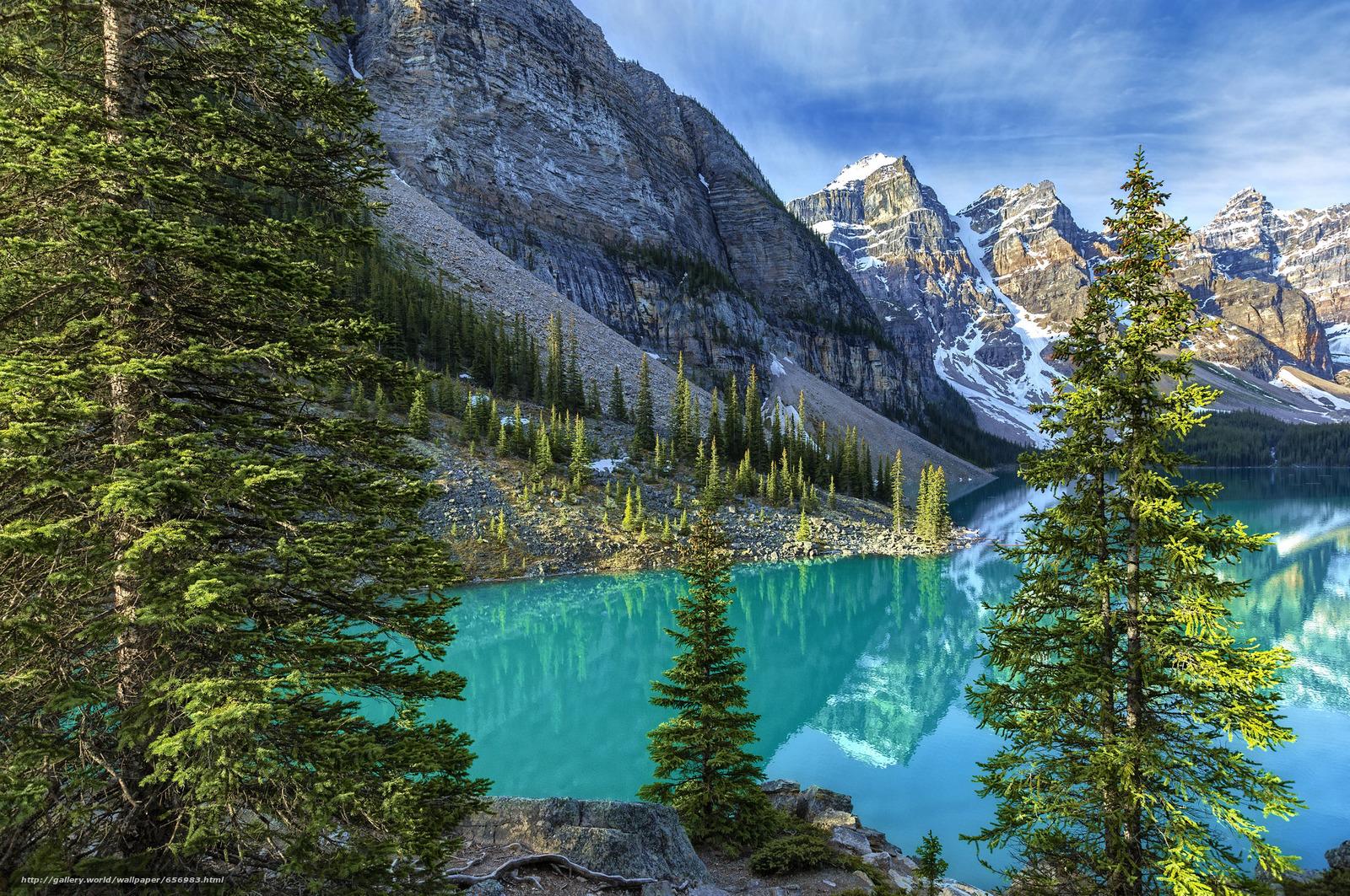 scaricare gli sfondi Lago Moraine,  Parco Nazionale di Banff,  Alberta,  Canada Sfondi gratis per la risoluzione del desktop 2048x1360 — immagine №656983