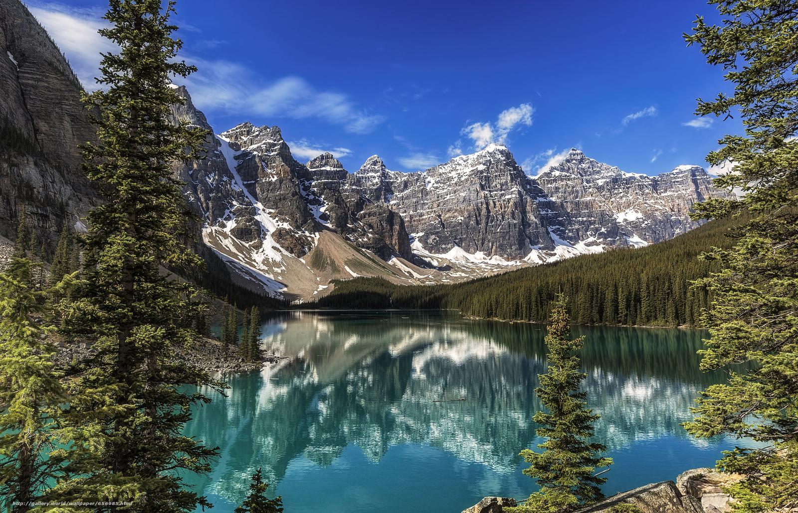 scaricare gli sfondi Lago Moraine,  Parco Nazionale di Banff,  Alberta,  Canada Sfondi gratis per la risoluzione del desktop 2048x1318 — immagine №656985