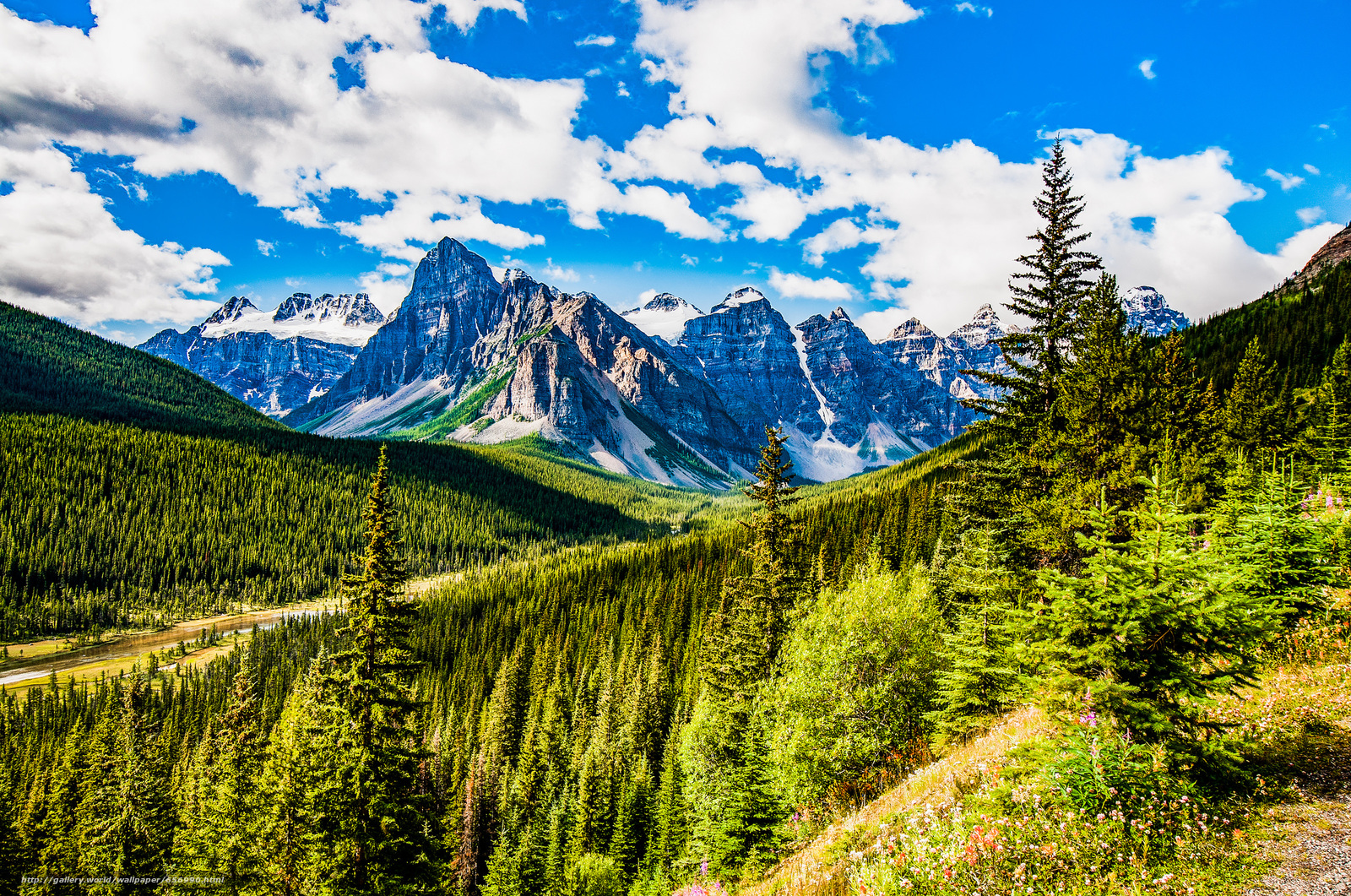 Download wallpaper Banff National Park,  Alberta,  Mountains,  trees free desktop wallpaper in the resolution 2048x1358 — picture №656990