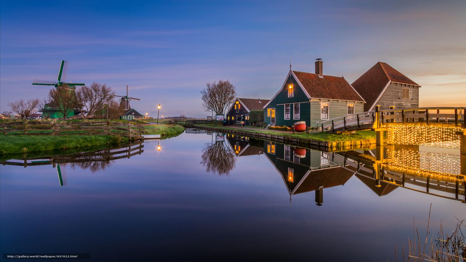 scaricare gli sfondi Village Zaanse Schans,  Paesi Bassi,  tramonto,  paesaggio Sfondi gratis per la risoluzione del desktop 5764x3242 — immagine №657022