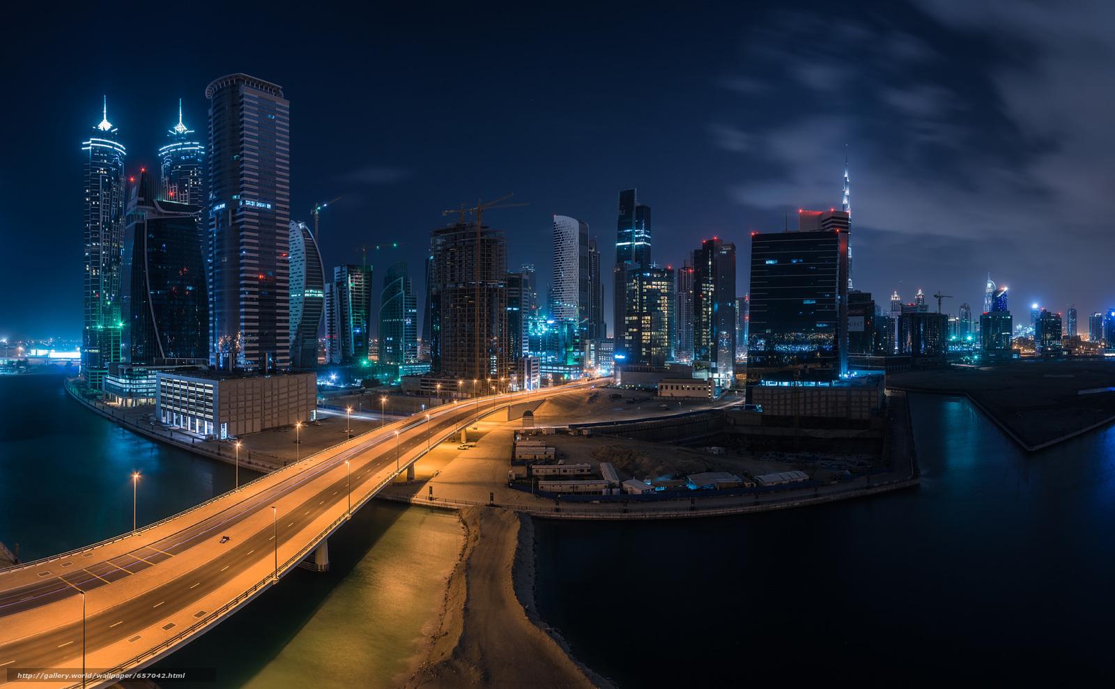 scaricare gli sfondi Dubai,  città,  stradale,  notte Sfondi gratis per la risoluzione del desktop 2048x1266 — immagine №657042