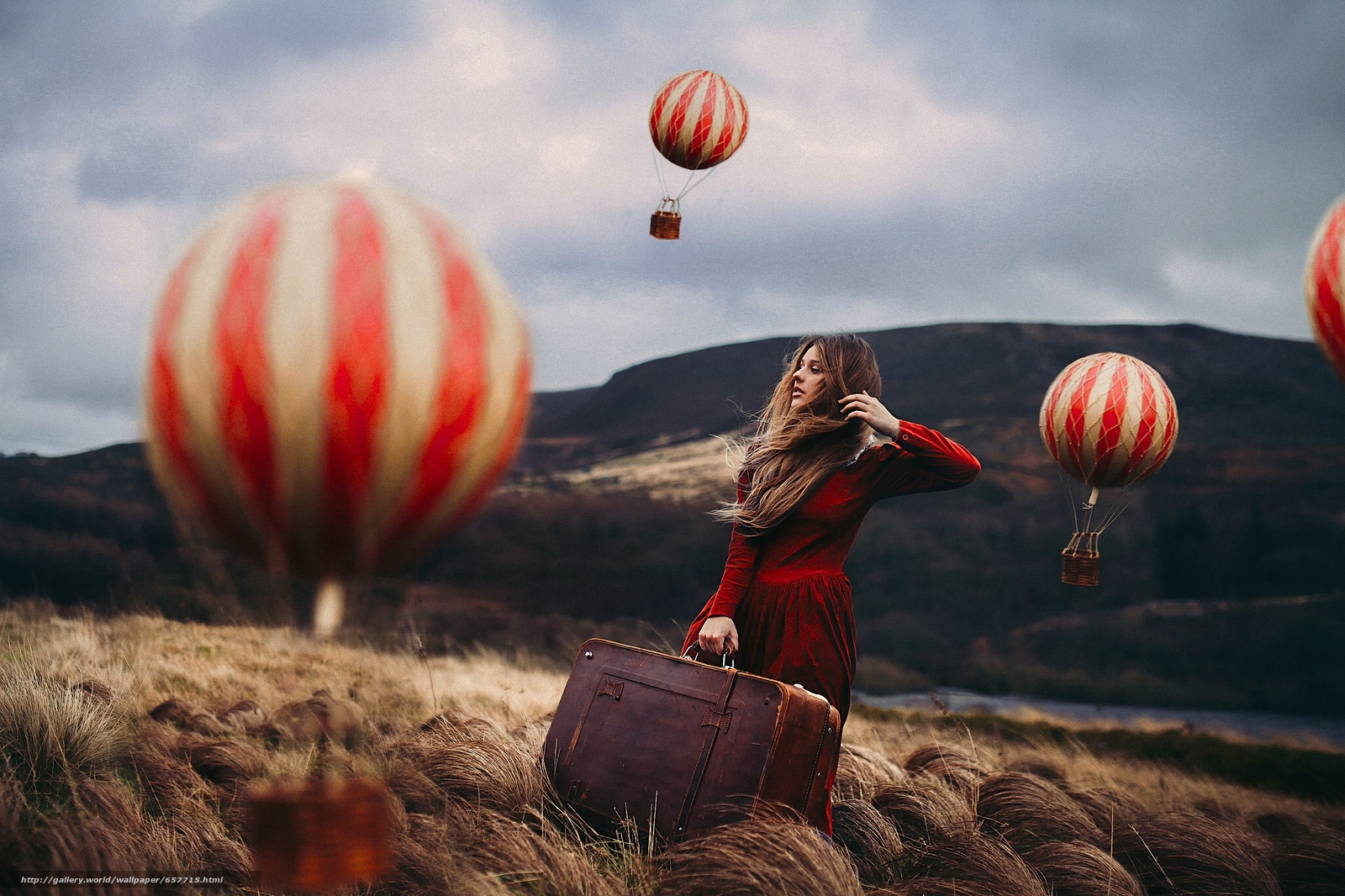 Download wallpaper girl,  Red Dress,  suitcase,  Balloons free desktop wallpaper in the resolution 2048x1365 — picture №657715