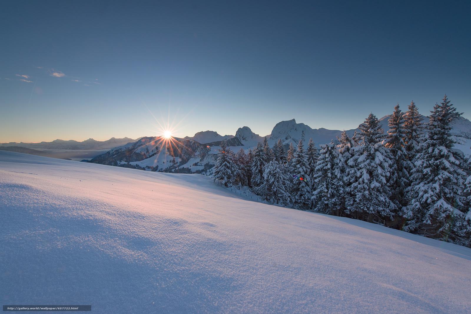 scaricare gli sfondi tramonto,  inverno,  Montagne,  nevicata Sfondi gratis per la risoluzione del desktop 2048x1367 — immagine №657722