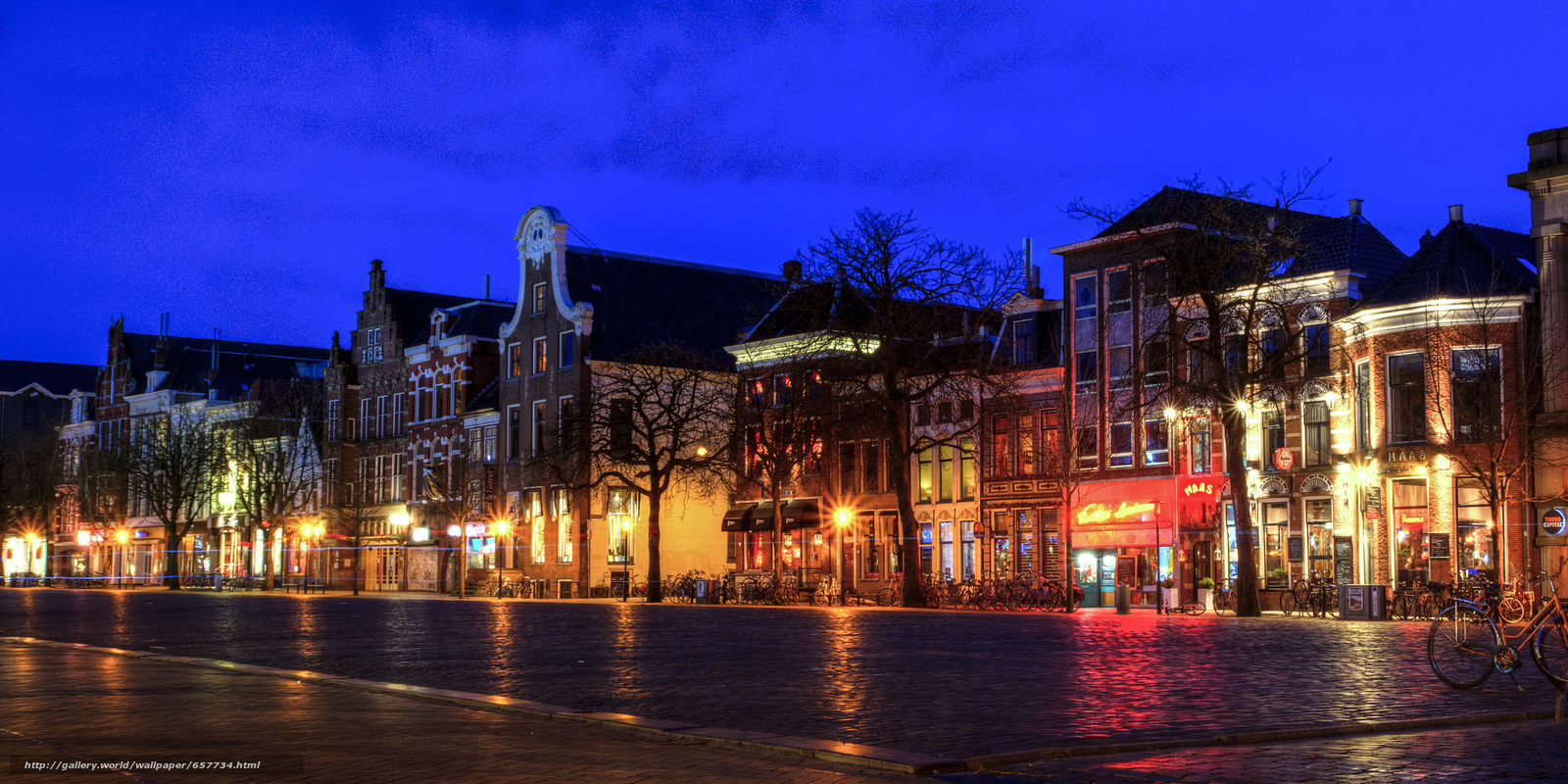 Download wallpaper Groningen,  Groningen,  Netherlands,  night free desktop wallpaper in the resolution 2048x1024 — picture №657734