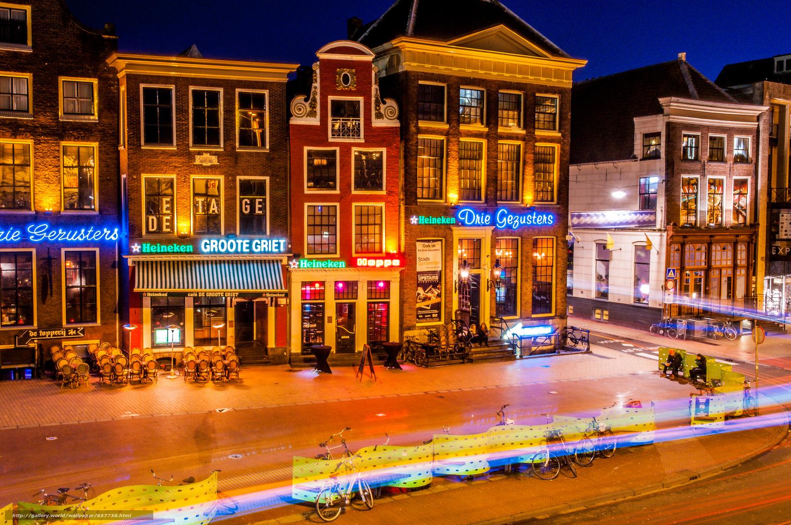 Скачать обои Groningen,  Гронинген,  Нидерланды,  ночь бесплатно для рабочего стола в разрешении 2048x1360 — картинка №657738