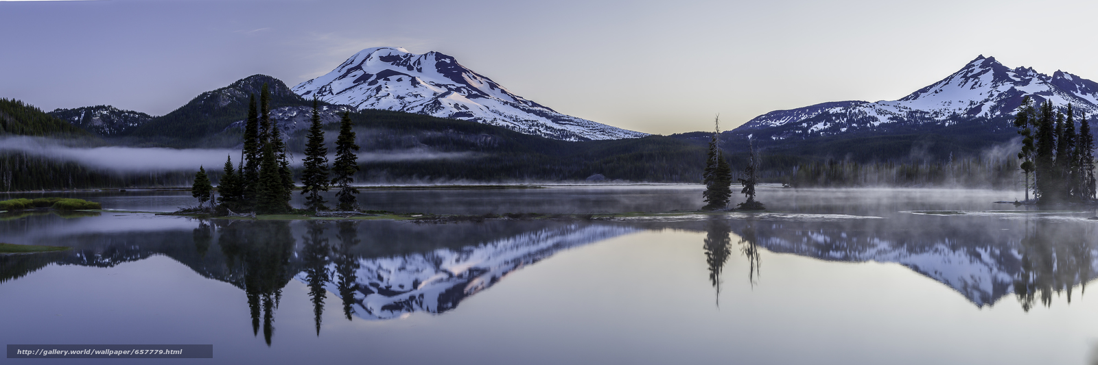 Download wallpaper Sparks lake,  Deschutes County,  Oregon,  panorama free desktop wallpaper in the resolution 8494x2831 — picture №657779