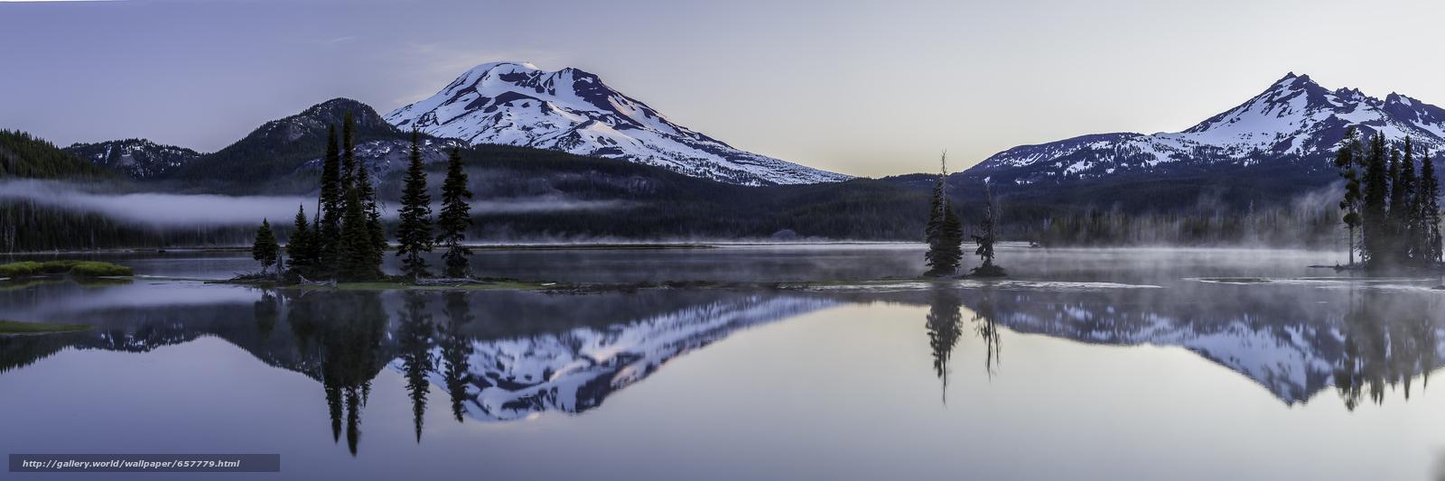 scaricare gli sfondi Lago Sparks,  Deschutes County,  Oregon,  panorama Sfondi gratis per la risoluzione del desktop 8494x2831 — immagine №657779