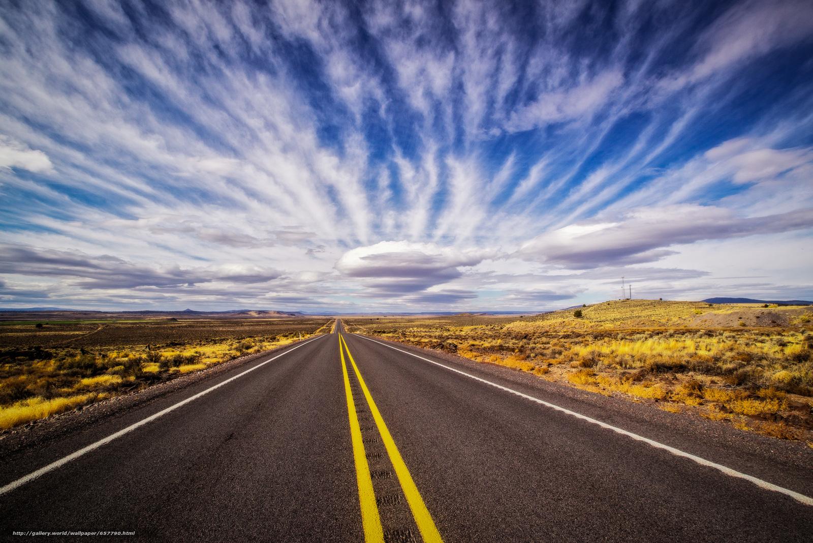 scaricare gli sfondi stradale,  campo,  cielo,  nuvole Sfondi gratis per la risoluzione del desktop 2400x1602 — immagine №657790