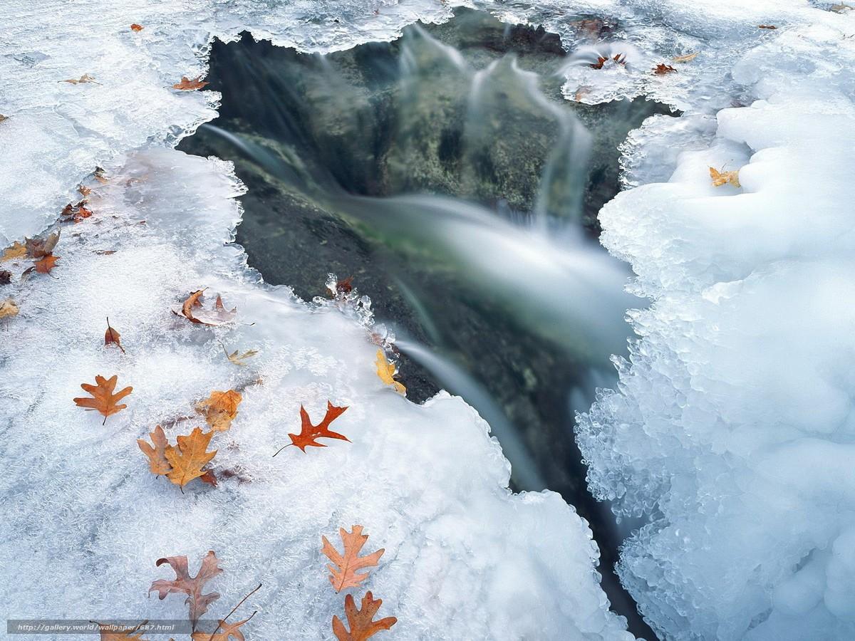 Скачать обои зима,  лед,  вода бесплатно для рабочего стола в разрешении 1600x1200 — картинка №687