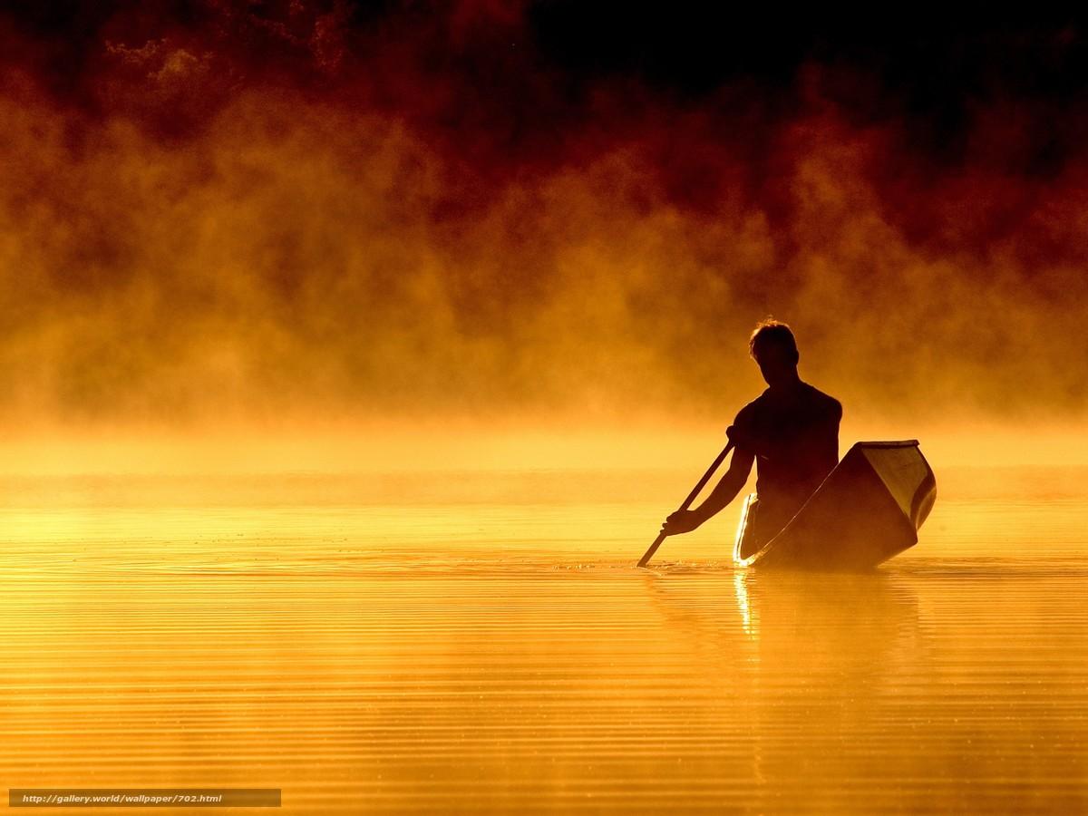 Скачать обои вода,  лодка,  ночь бесплатно для рабочего стола в разрешении 1920x1440 — картинка №702