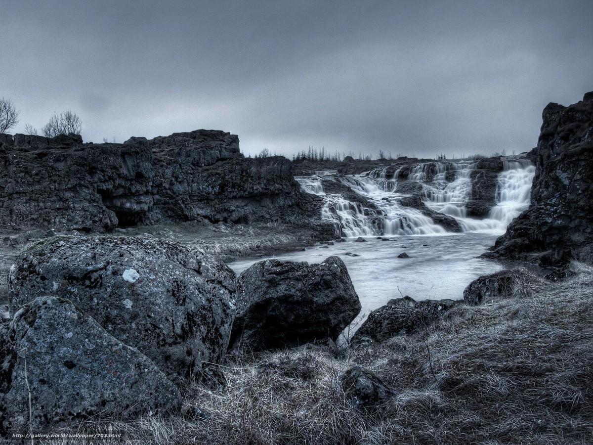 Скачать обои водопад,  пейзаж,  вода,  скалы бесплатно для рабочего стола в разрешении 1920x1440 — картинка №703