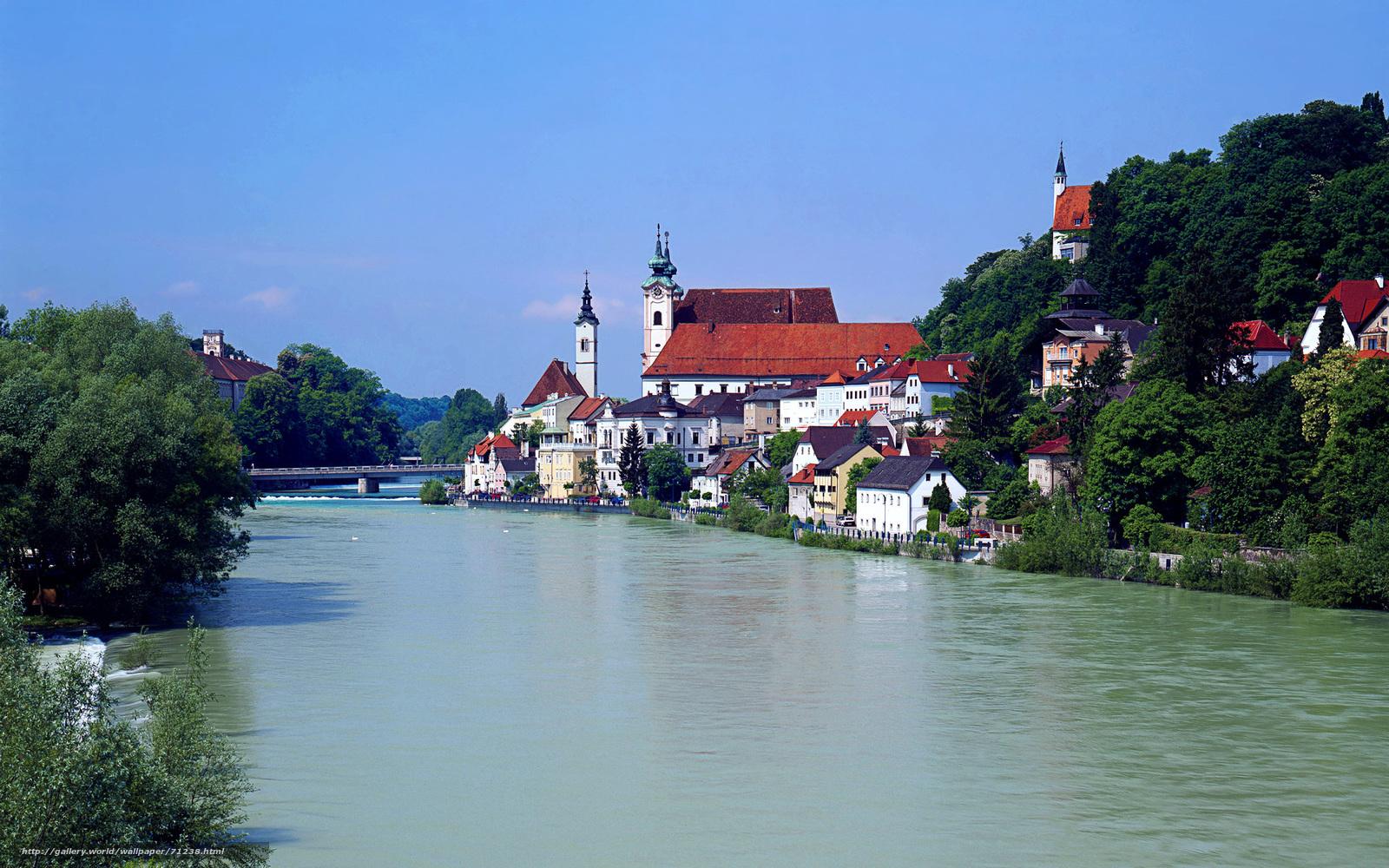 scaricare gli sfondi Austria,  casa,  fiume Sfondi gratis per la risoluzione del desktop 1920x1200 — immagine №71238