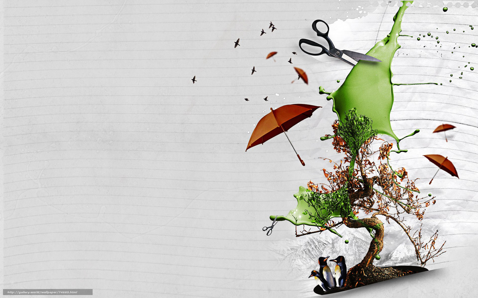 scaricare gli sfondi forbici, collage, Photoshop, ombrello