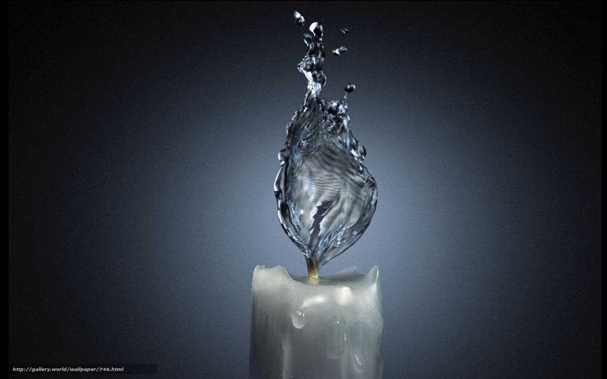 Скачать обои свеча,  вода,  пламя,  водный огонь бесплатно для рабочего стола в разрешении 1680x1050 — картинка №746