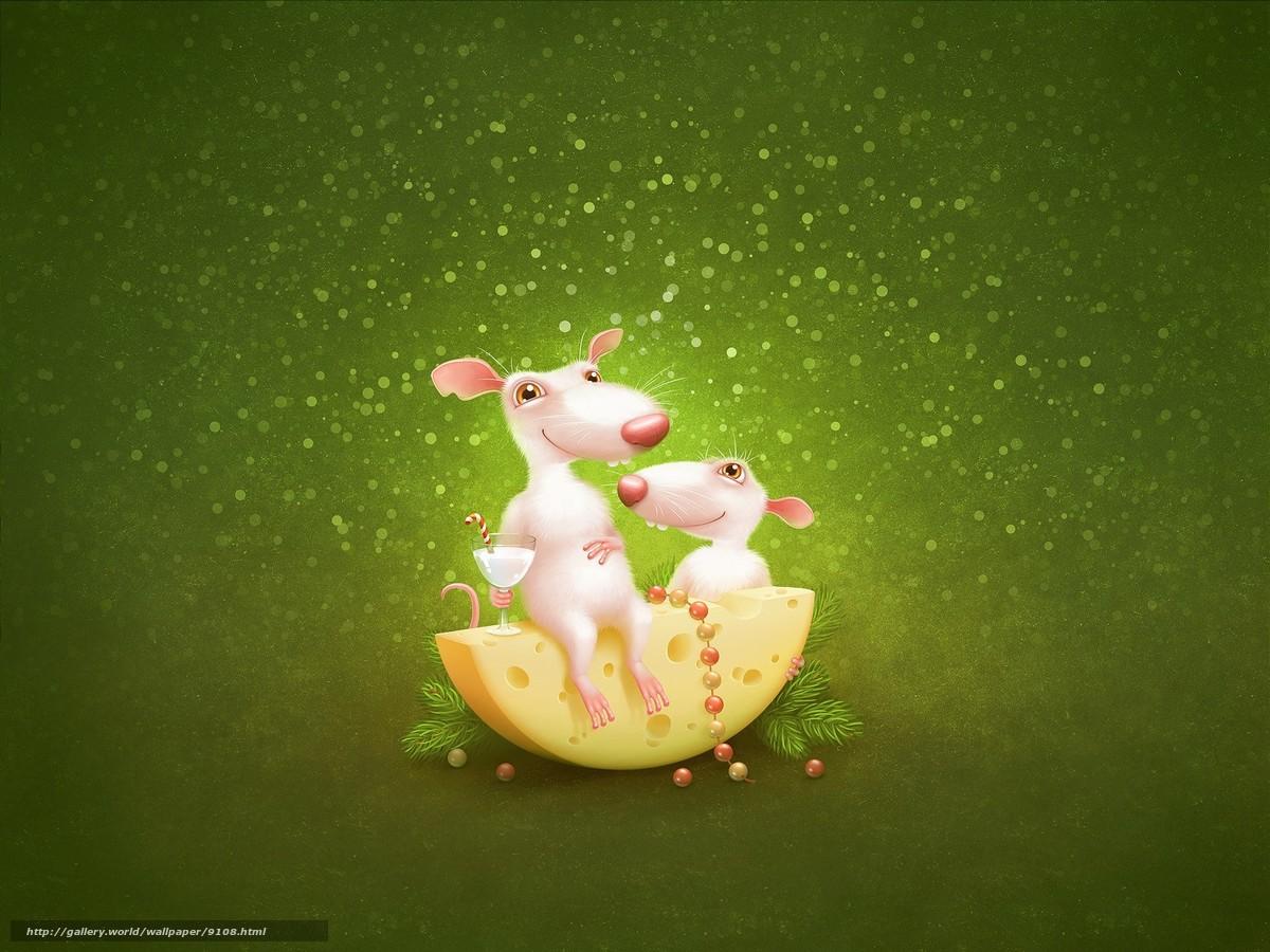 scaricare gli sfondi Mouse,  Ratti,  formaggio,  verde Sfondi gratis per la risoluzione del desktop 1600x1200 — immagine №9108