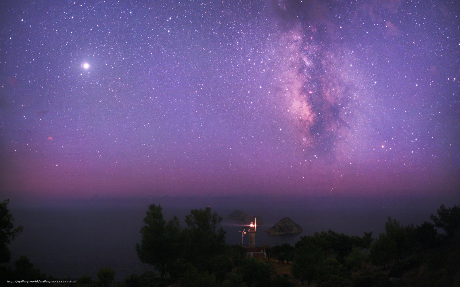 Скачать на телефон обои фото картинку на тему космос, небо, звезды, млечный путь, море, маяк, юпитер, разширение 1920x1200