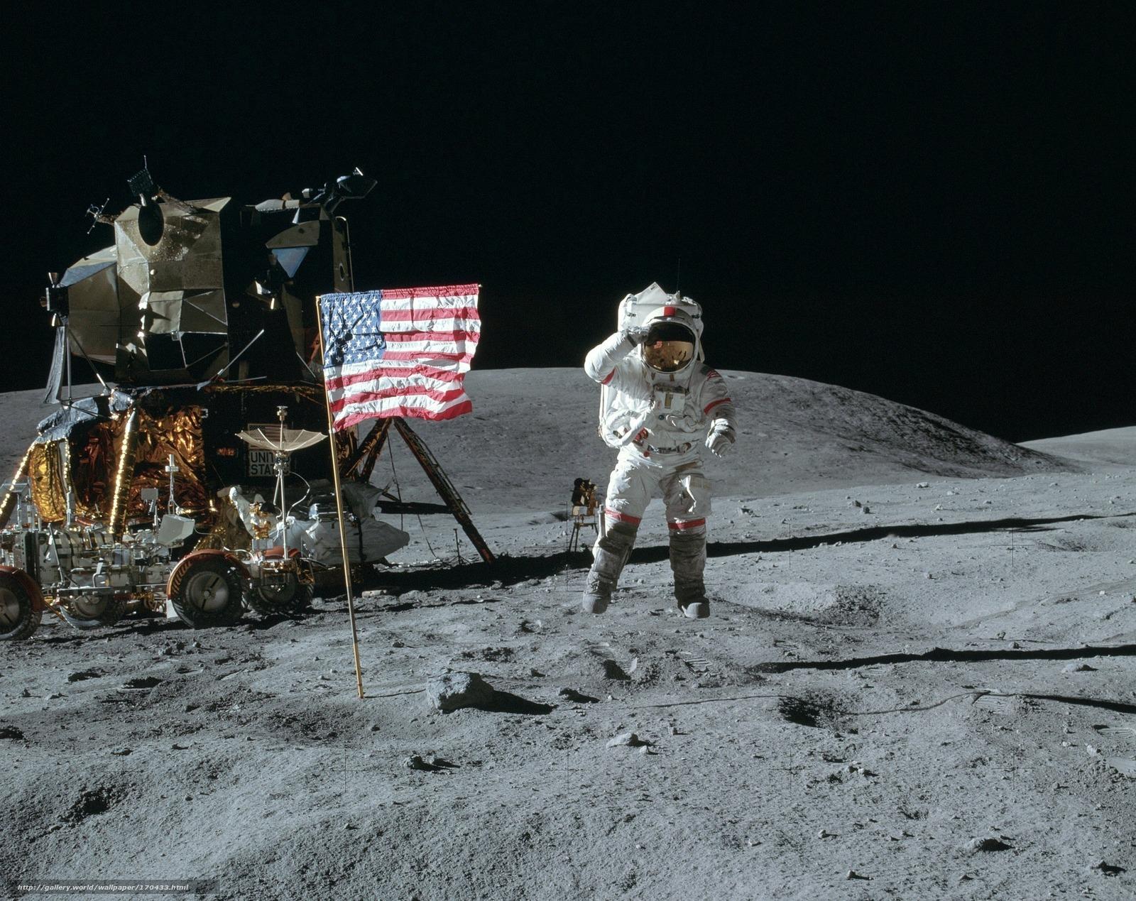 Скачать на телефон обои фото картинку на тему космос, луна, космонавт, американец, прыжок, флаг, америка, сша, лунный модуль, луноход, обои, разширение 2340x1856