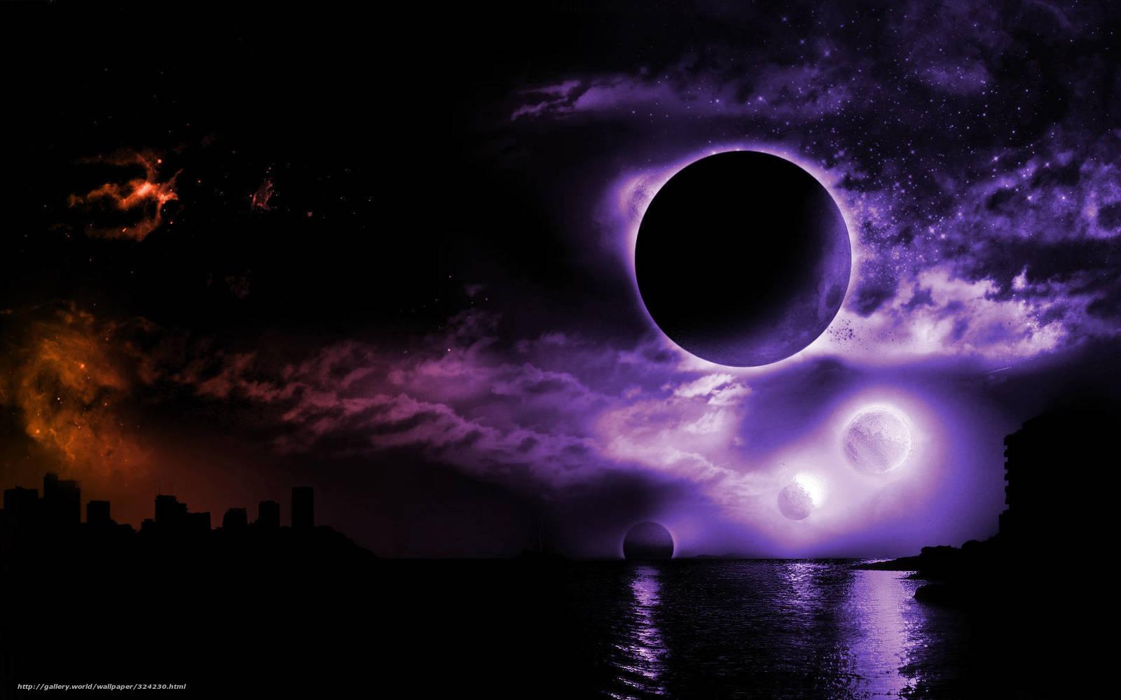 Скачать на телефон обои фото картинку на тему планеты,  море,  город,  тьма, разширение 1920x1200
