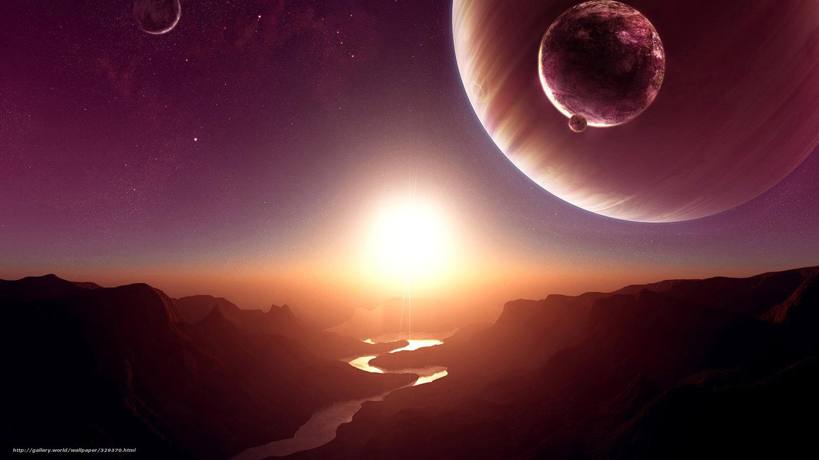 Скачать на телефон обои фото картинку на тему космос,  планета,  спутник,  солнце,  звезды,  река,  каньон,  скалы,  закат,  рассвет, разширение 1920x1080