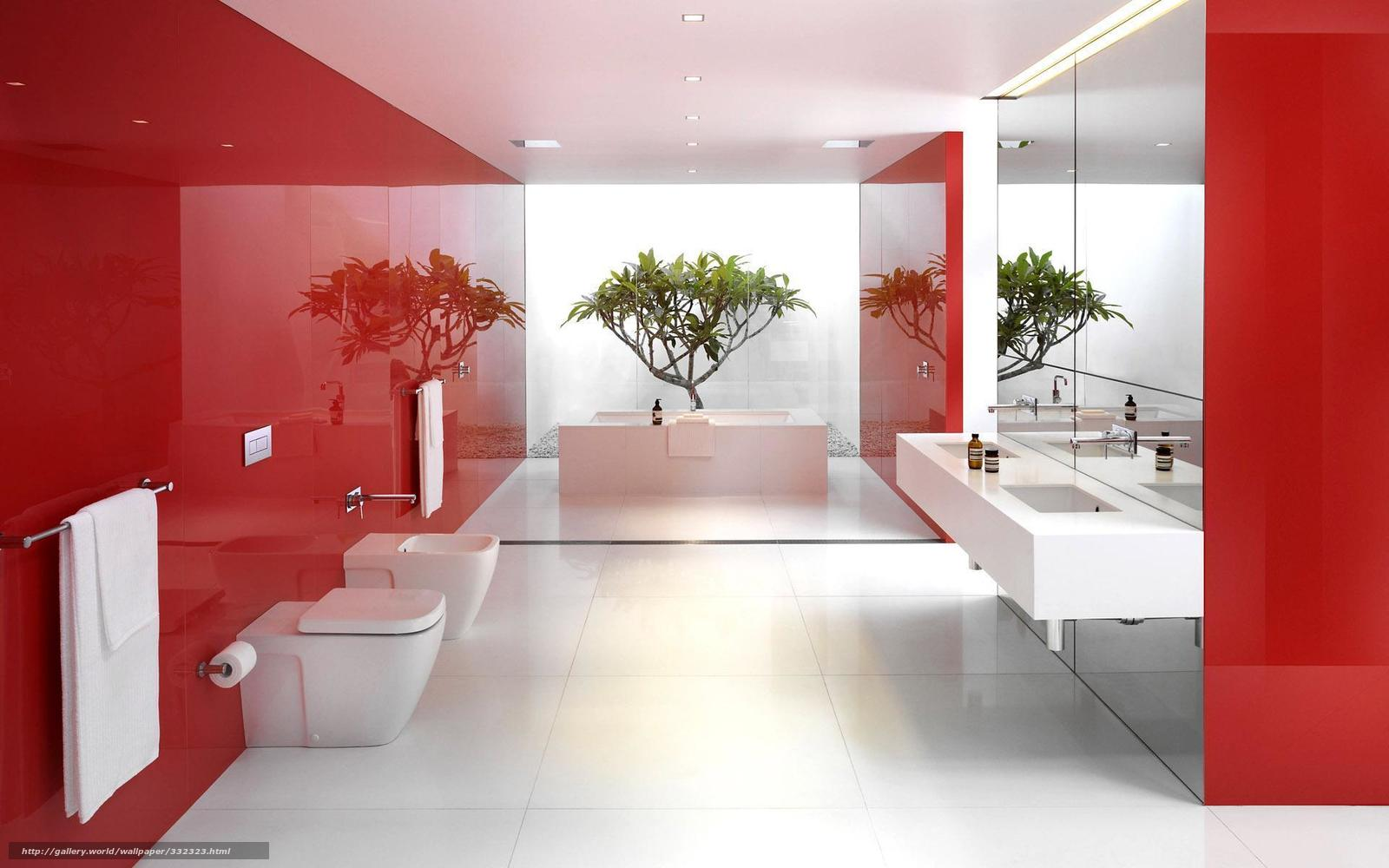 Papel de parede Branco Espelhos vermelho reflexo banheiro  #952020 1600x1000 Banheiro Branco Vermelho