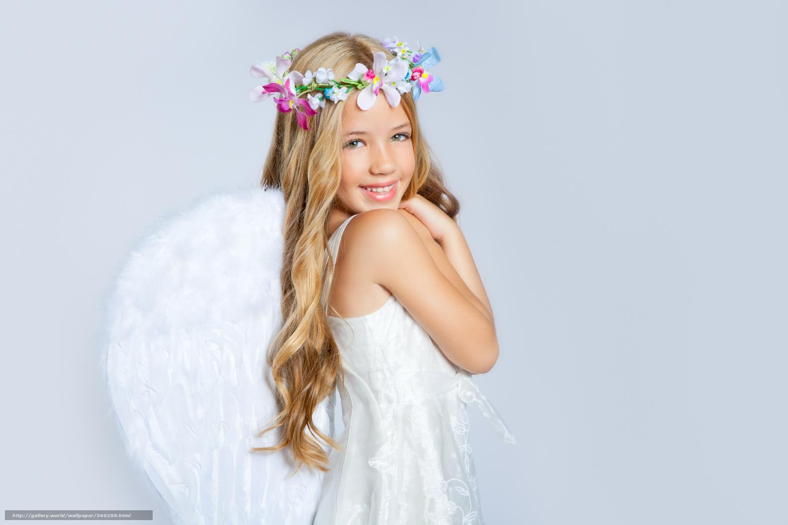 Flowers  angel  Happiness  beautiful girl  child  children  childhood