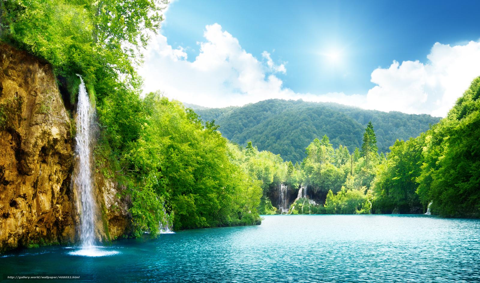 водопад, море, озеро, густой лес, деревья, небо, облака, пейзаж ...