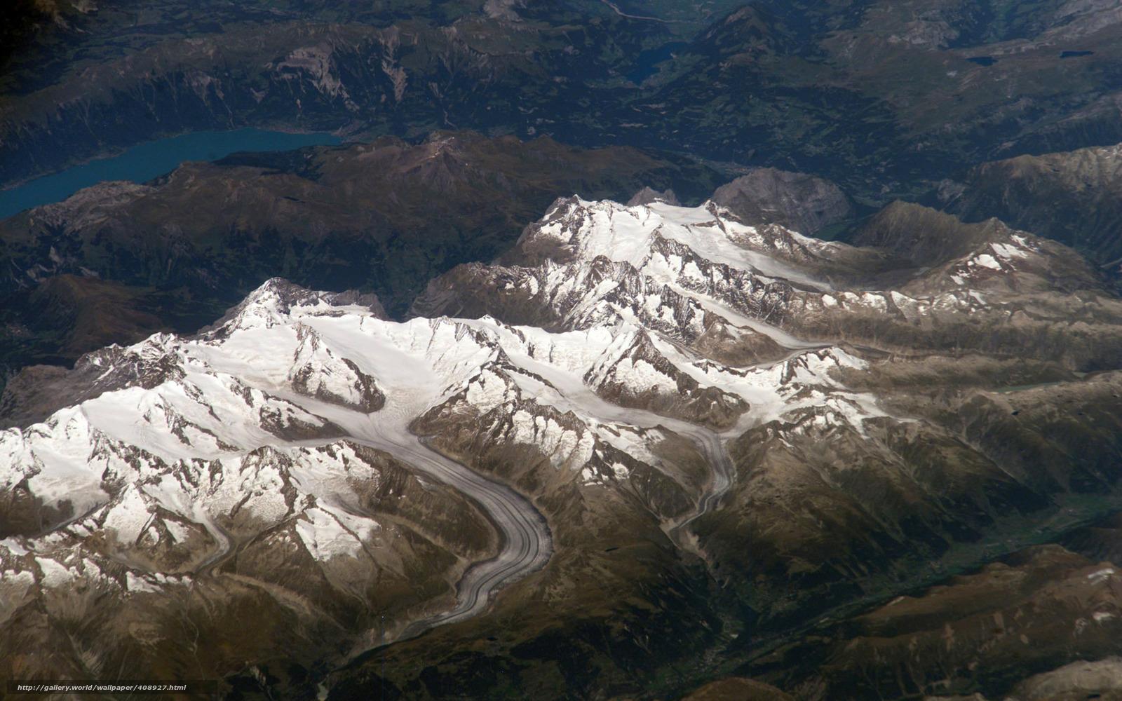 Скачать на телефон обои фото картинку на тему космос, снимок, горы, ледник, озеро, разширение 1680x1050