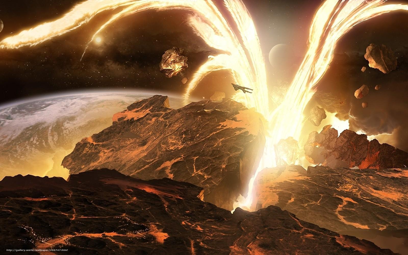 Скачать на телефон обои фото картинку на тему арт, космос, планета, корабль, разлом, разрушение, лава, энергия, взрыв, обломки, реки, лес, ландшафт, поверхность, разширение 1680x1050
